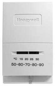 Honeywell, Inc. T822L1000 TERMINALS:  R, Y. SYSTEM SWITCH:  NONE. FAN SWITCH:  NONE. SCALE:  50-90F AND 10-30C.