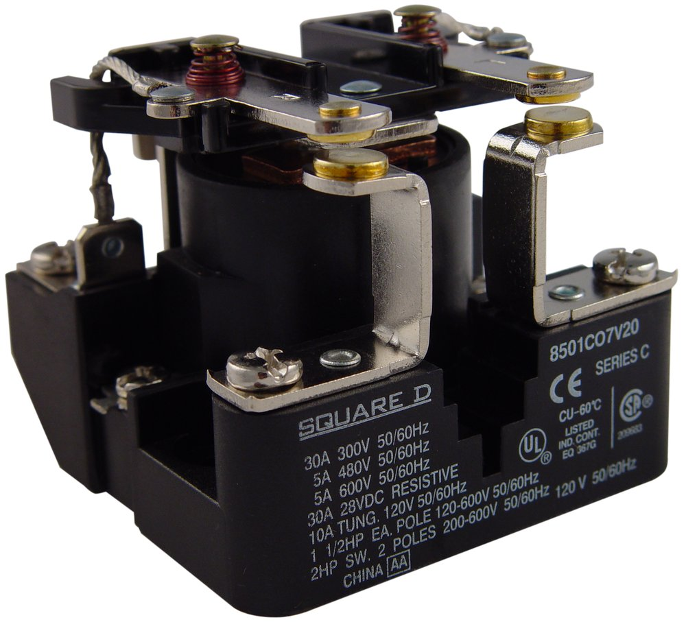 SQUARE D 8501CO7V20 Open Power Relay,6 Pin,120VAC,DPST-NO