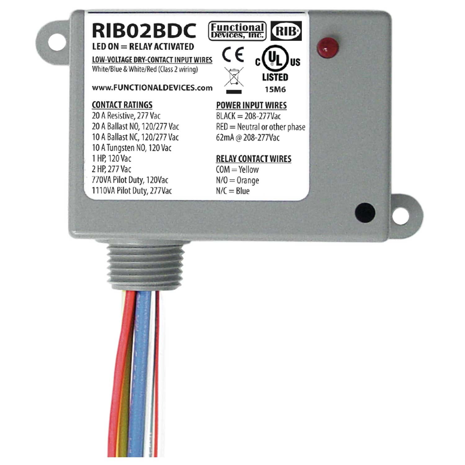 Functional Devices Rib Rib02bdc Enclosed Relay Class 2 Dry Dc Voltage Wiring In Series Furthermore Solid State Circuit Contact Input208 277vac Pwr 20a Spdt At Controls Central