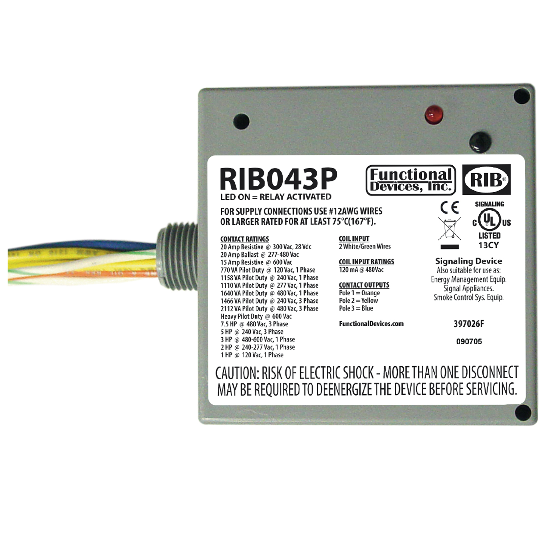 Functional Devices Rib Rib043p Enclosed Relay 20amp 3pst 480vac At Power Rating Controls Central