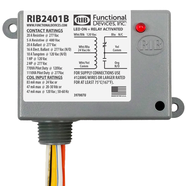 Override 24Vac RIB RIB24S2 Enclosed Relay 20Amp DPST-NO