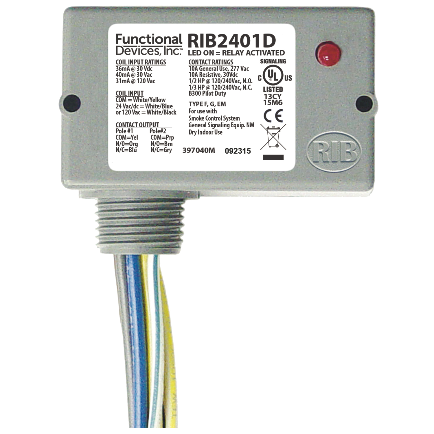 RIB2401D functional devices (rib) rib2401d enclosed relay 10amp dpdt 24vac rib relay in a box wiring diagram at nearapp.co