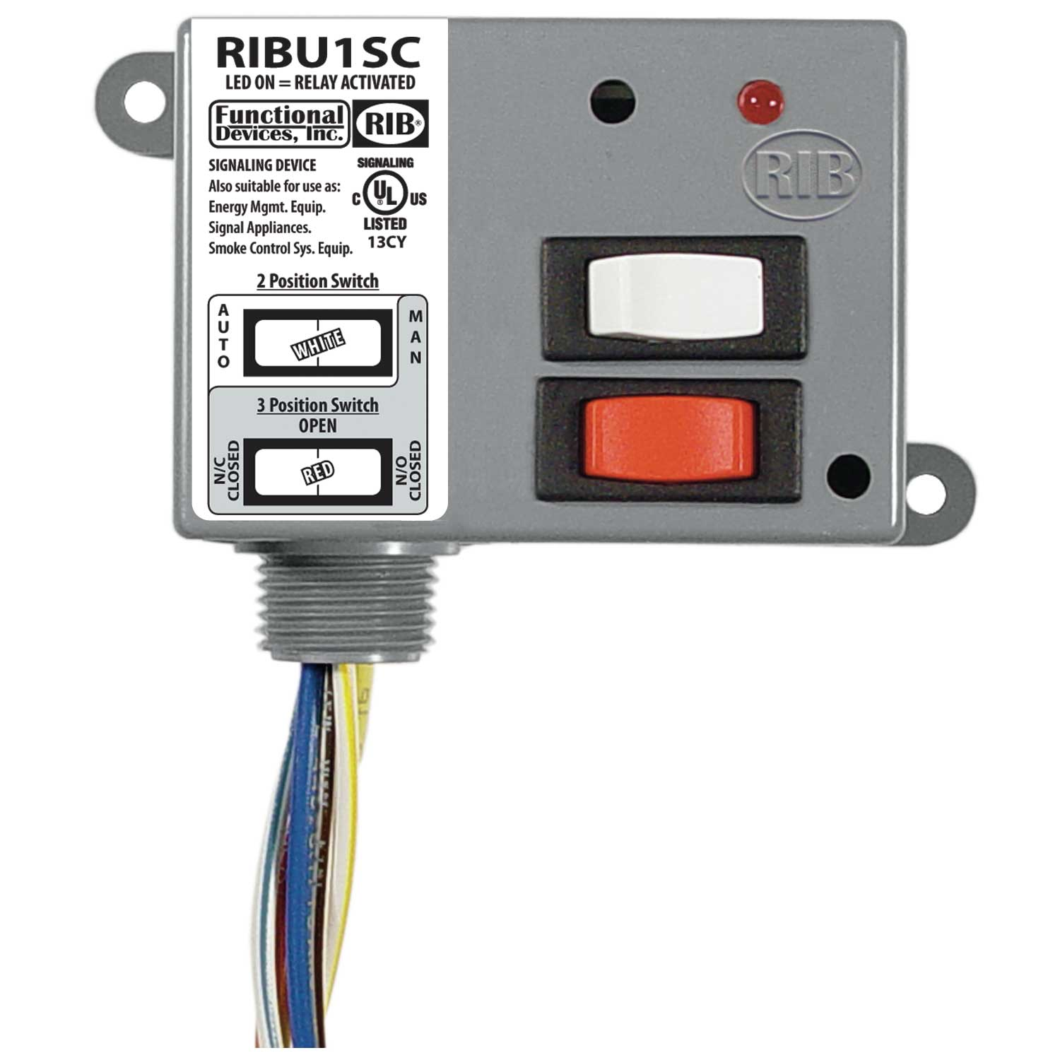 Functional Devices (RIB) RIBU1SC Enclosed Relay 10Amp SPDT + Override  10-30Vac/dc/120Vac at Controls Central