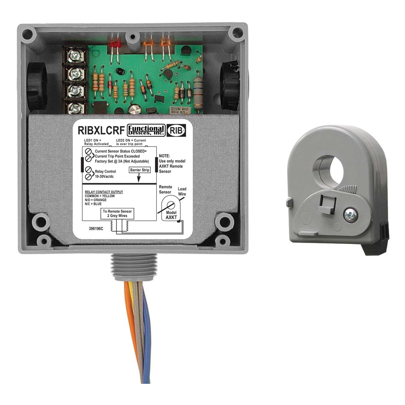 FUNCTIONAL DEVICES RIBXLCRA ENCLOSED SOLID-CORE RELAY WITH ADJUSTABLE AC SENSOR